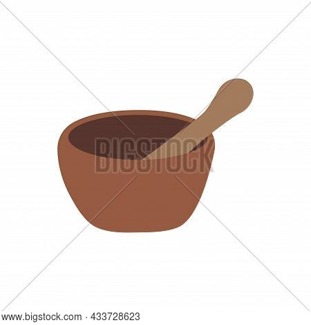 Mortar And Pestle. Vintage Bowl For Chopping And Kneading Herbs And Spices. Alternative Medicine, He