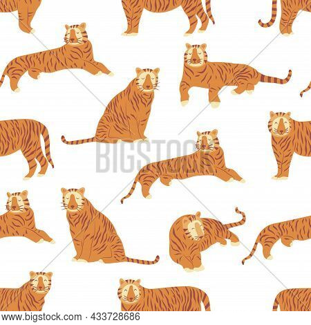 Seamless Pattern With Tigers. Noble Wild Striped Feline, Fast And Agile Animal. Colorful Vector Illu