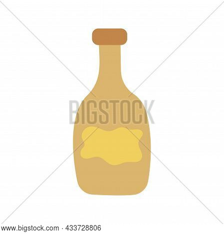 Vintage Bottle, Jar For Drinks, Wine, Potions. Colorful Vector Isolated Illustration Hand Drawn Icon