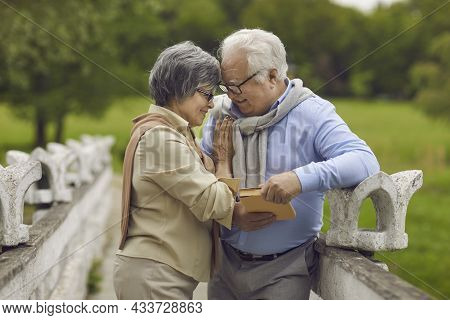 Outdoor Portrait Of A Happy Loving Senior Couple In A Green Park On A Good Summer Day