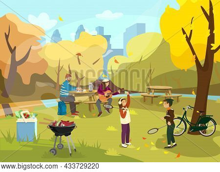 Vector Illustration Of Family Having Picnic In Autumn Park. Kids Playing Badminton. Woman Playing Th