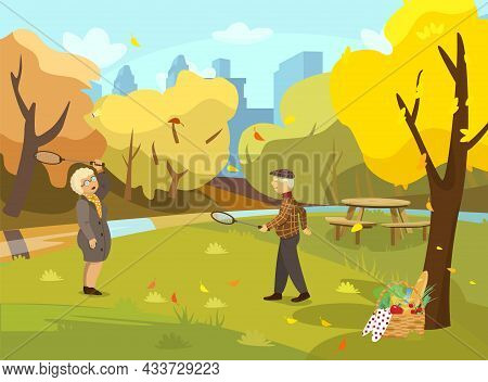 Vector Illustration Of Old Couple Playing Badminton In Autumn Park. Fall Park Scene. Picnic Basket.