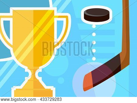 Hockey Banner With Cup And Stick. Sport Placard Design In Cartoon Style.