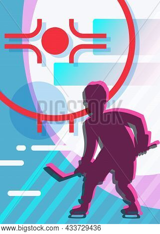 Poster With Silhouette Of Hockey Player. Sport Placard Design In Cartoon Style.