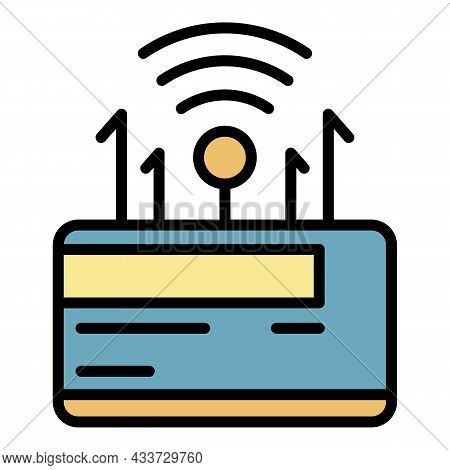 Wireless Router Icon. Outline Wireless Router Vector Icon Color Flat Isolated