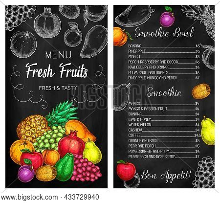 Smoothie Cafe Tropical Fruits Drinks Chalkboard Menu. Pineapple, Grape And Pomegranate, Pear, Apple