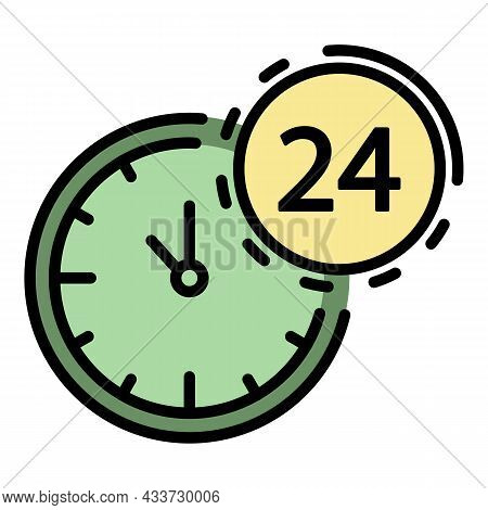 24 Hours Bank Support Icon. Outline 24 Hours Bank Support Vector Icon Color Flat Isolated