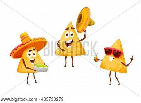 Mexican Nachos Chips On Leisure Fiesta In Sombreros, Vector Mexico Cartoon Food Characters. Nachos C