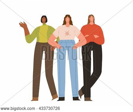 Group Of Three Young Strong Women Standing Together. Female Friendship, Sisterhood Or Feminist Activ