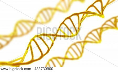 This Scene Viewed Under A Microscope The Molecules Dna On A The White Background. The Concept Molecu