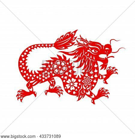 Chinese Lunar New Year Dragon, Zodiac Sign And Vector Oriental Holidays Symbol. Red Dragon In Paper