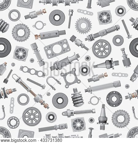 Mechanical Spare Parts Seamless Pattern And Machinery Gears, Vector Background. Bushings And Bearing