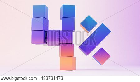 Colorful Boxes Forming The Number Four Isolated On White Background, 3d Render, Up To Four Percent