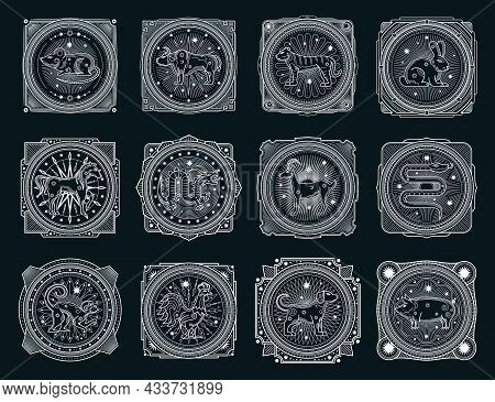 Chinese Horoscope Occult Symbols And Zodiac Animals Esoteric Vector Signs. Chinese Zodiac Horoscope