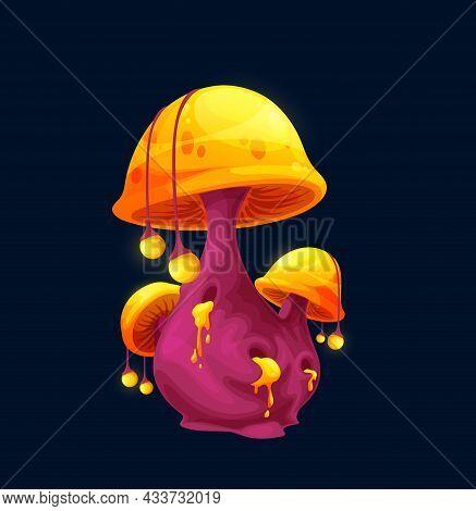 Fantasy Magic Toxic Cap Mushroom, Vector Cartoon Icon. Luminous Toxic Toadstool Or Fairy Tale Magic
