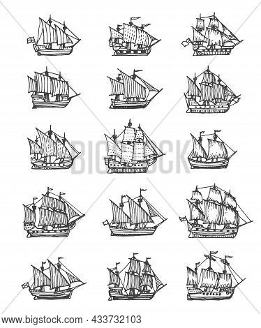 Sail Ship, Sailboat And Brigantine Vintage Sketch. Vector Pirate Boat, Nautical Frigate With Flags A