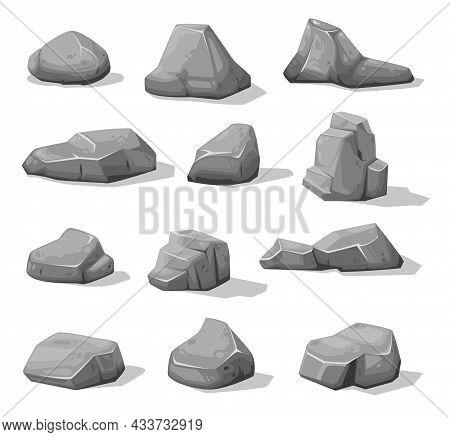 Cartoon Rock Stones And Boulders. Grey Rubble, Gravel Or Cobble. Mountain Stones, Concrete Vector Pi