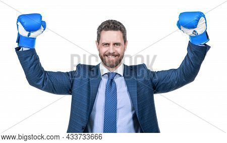 Successful Businessman Man In Suit And Boxing Gloves Celebrate Success Isolated On White, Success