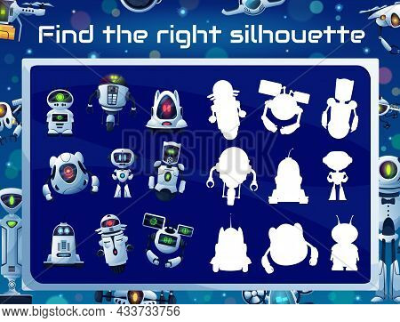 Kids Game With Robot Silhouettes, Shadow Matching Puzzle, Memory Riddle Or Attention Test. Education