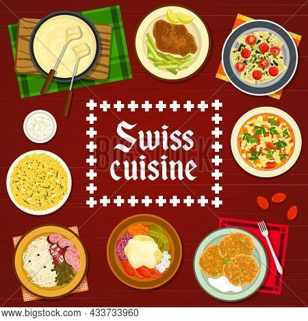 Swiss Cuisine Restaurant Meals And Dishes Menu Cover. Schnitzel, Minestrone Soup And Potato Fritter