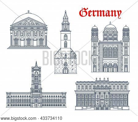 Germany Architecture, Berlin Buildings And Historic Landmarks, Vector Icons. Marienkirche Church, Ro