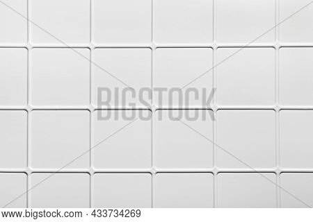 White Square Tiled Texture Background. Extruded Plastic Panel