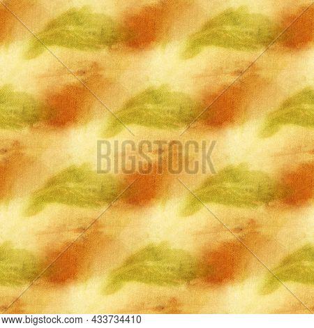 Botanical Print With Leaf Prints On Natural Silk. Hand-drawn Illustration.