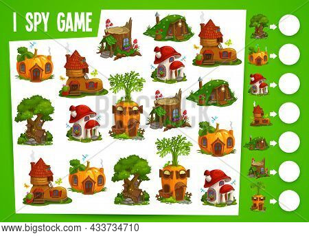 Fairy Houses And Dwellings Kids Spy Game. Vector Educational Test With Cute Fantasy Homes Stump, Mus