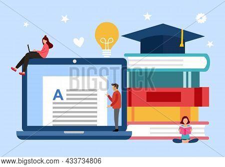Modern Education Concept Vector Illustration. Laptop Computer, Stack Of Books, Graduation Hat In Fla