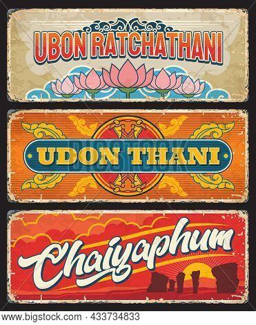 Udon Thani, Chaiyaphum, Ubon Ratchathani Thailand Provinces Stickers Or Metal Plates. Thai Cities En