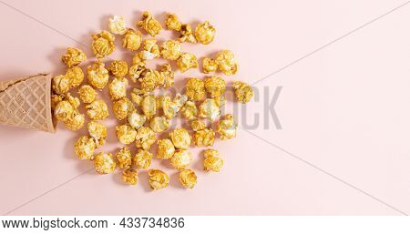 Ice Cream Cone With Popcorn.cinema Background. Top View With Copy Space