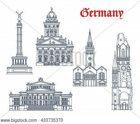 Germany Architecture And Landmark Buildings Of Berlin, Vector Icons. German Church Of Saint Matthew