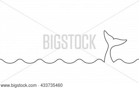 Whale Tail Between Waves Graphic Icon. Whale Tail Sign On White Background. Sea Life Background. Vec