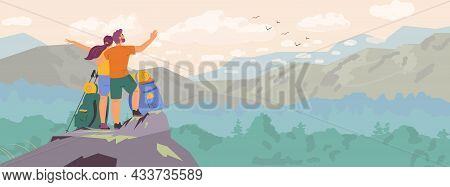 Couple Standing On Top Of The Mountain Observing Beautiful Landscape Horizontal Banner. Man And Woma
