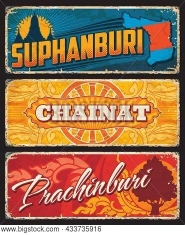 Suphanburi, Prachinburi And Chainat Thailand Provinces Vector Travel Plates And Stickers. Thailand P
