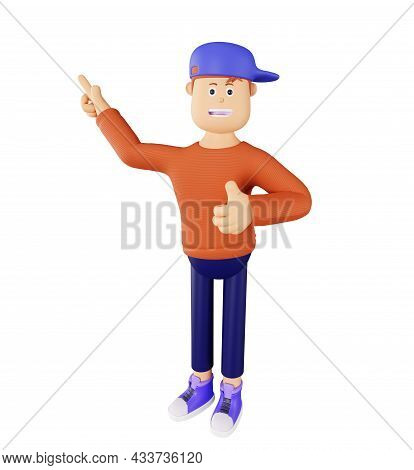 Young Cartoon Character In An Orange Sweater And Cap, Isolated. 3d Character Shows A Thumbs Up. Cart