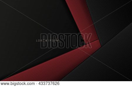 Geometric Design In Dark Color, Textured Bias Curtains In Red And Gray Shades