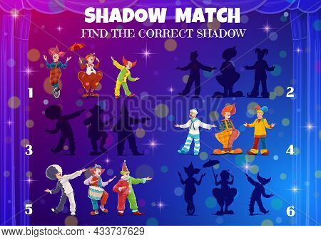 Kids Shadow Match Game. Circus Clowns, Find A Correct Silhouette Tabletop Vector Riddle. Find And Ma
