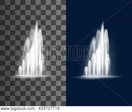 Fountain Cascade, Water Jets Vector Splashing Streams. Realistic Multiple Geysers Flows Eruption, 3d