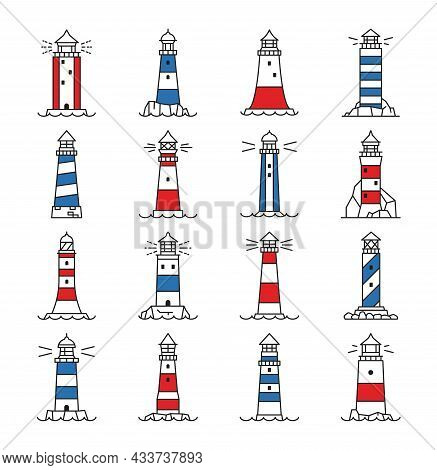 Lighthouse And Beacon Building Icons. Light House Stripped Towers On Coast Rock, Port Shore Or Harbo