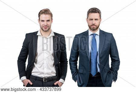 Spirit Of Expertise. Two Businessmen In Suit. Business Success. Confident Business Partners.