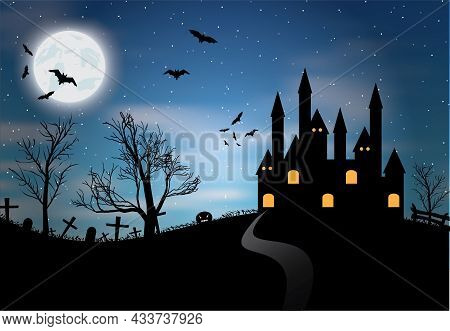 Halloween Night Concept. Halloween Poster With Castle, Full Moon And Bats