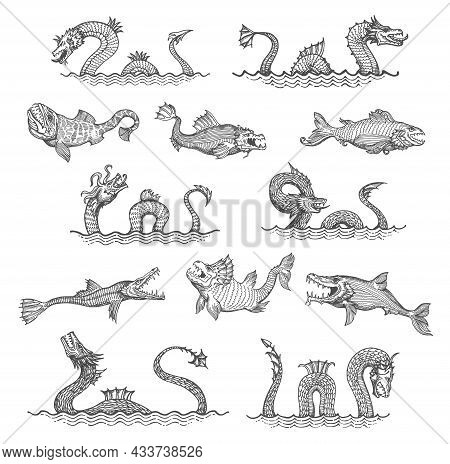 Ancient Sea Serpent, Dragon, Leviathan Animals Sketch. Sea Monsters, Engraved Vector Ocean Deep Lege