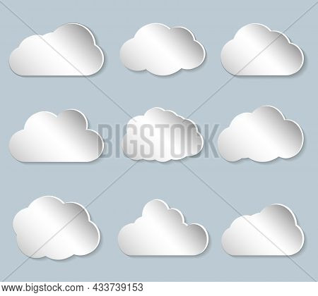 Set Of Puffy Papercut Clouds, Vector Illustration