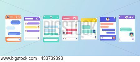 Chat Bot Dialogue Windows Flat Design For Website Or Mobile App. User Interface Of Application With