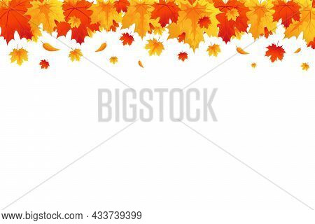 Autumn Background, Border With Falling Bright Maple Leaves. Red, Yellow And Orange Fall Leaves With