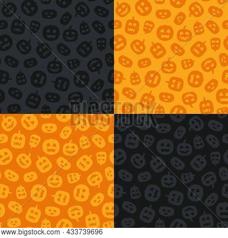 Set Of Orange And Black Seamless Patterns With Carved Halloween Pumpkins. Vector Backgrounds.