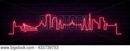 Red Neon Skyline Of Bratislava. Bright Bratislava City Long Banner. Vector Illustration.