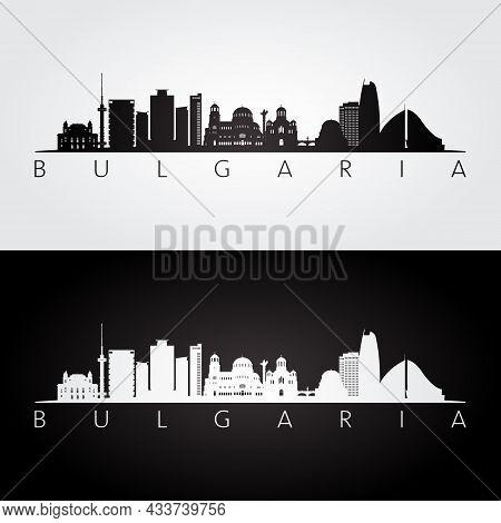 Bulgaria Skyline And Landmarks Silhouette, Black And White Design, Vector Illustration.