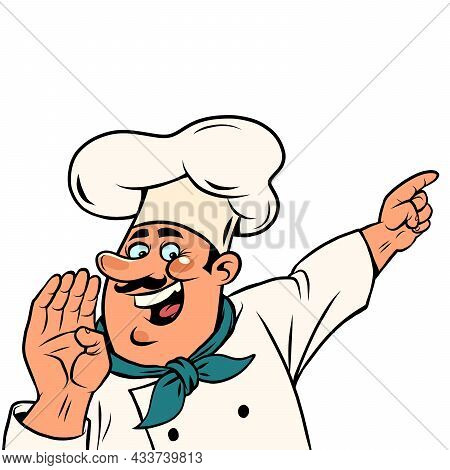 Man Chef In A White Cap. Smiling Face. Professional Points A Finger Isolate On A White Background